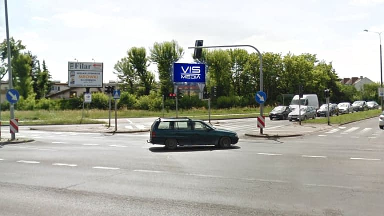 Telebim skrzyżowanie ulic Poznańska Miechowiecka w Inowrocławiu, agencja reklamowa Vismedia