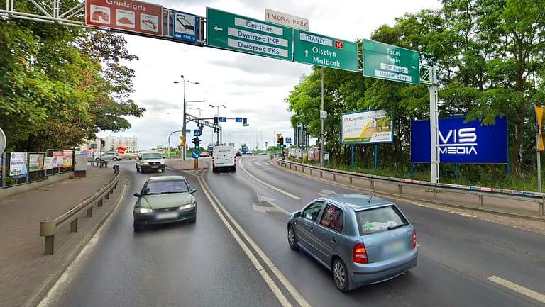 billboard 12 m2, Grudziądz, ulica Chełmińska i ulica Gdyńska