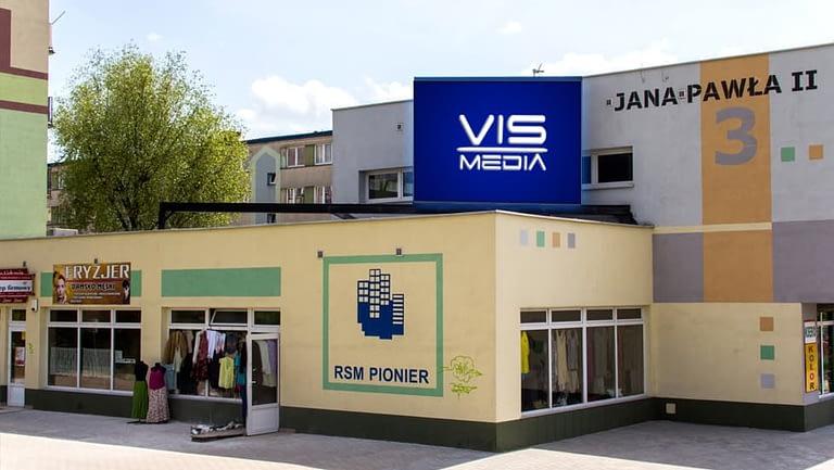 Telebim skrzyżowanie ulic Jana Pawła II oraz Kardynała Wyszyńskiego w Kutnie, agencja reklamowa Vismedia