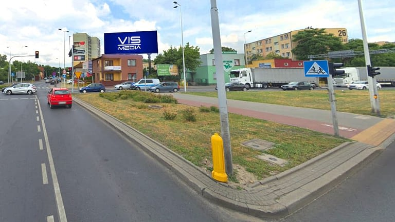Telebim skrzyżowanie Okrzei Wronia we Włocławku, agencja reklamowa Vismedia